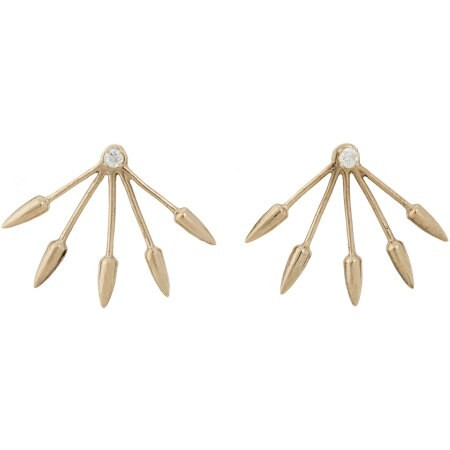 Diamond & Gold Five Spike Stud Earrings