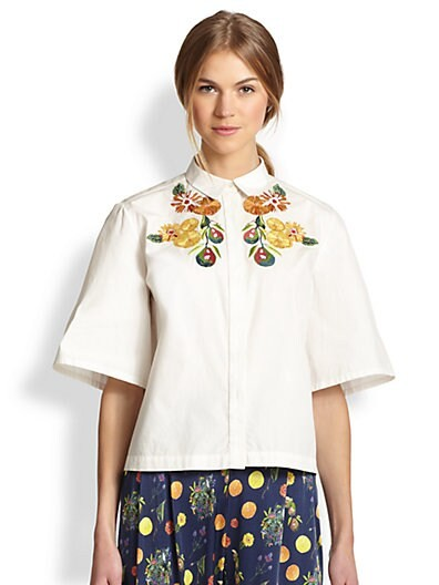 Fruit-Embroidered Boxy Cotton Shirt