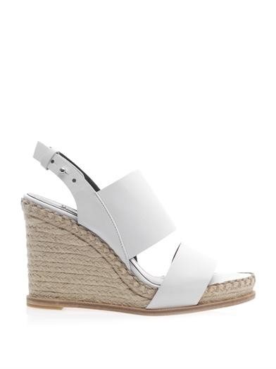 Rope-wedge leather sandals
