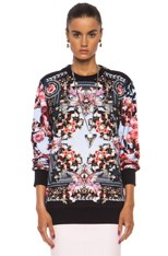 Roses and Birds of Paradise Cotton Sweatshirt in Multi
