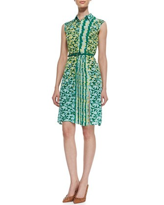 Printed Georgette Belted Dress