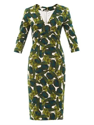 Forest-print fitted dress