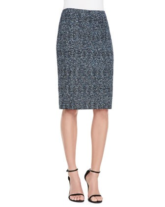 Shimmer Boucle Herringbone Tweed Knit Pencil Skirt  						 					Fit Predictor
