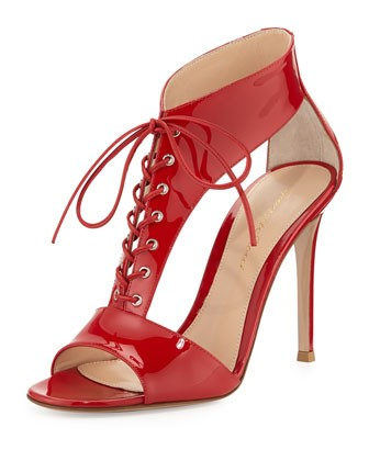 T-Strap Patent Lace-Up Sandal, Red