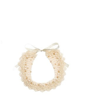ASOS Faux Pearl And Lace Collar Necklace