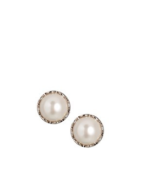 French Connection Round Pearl Stud Earrings