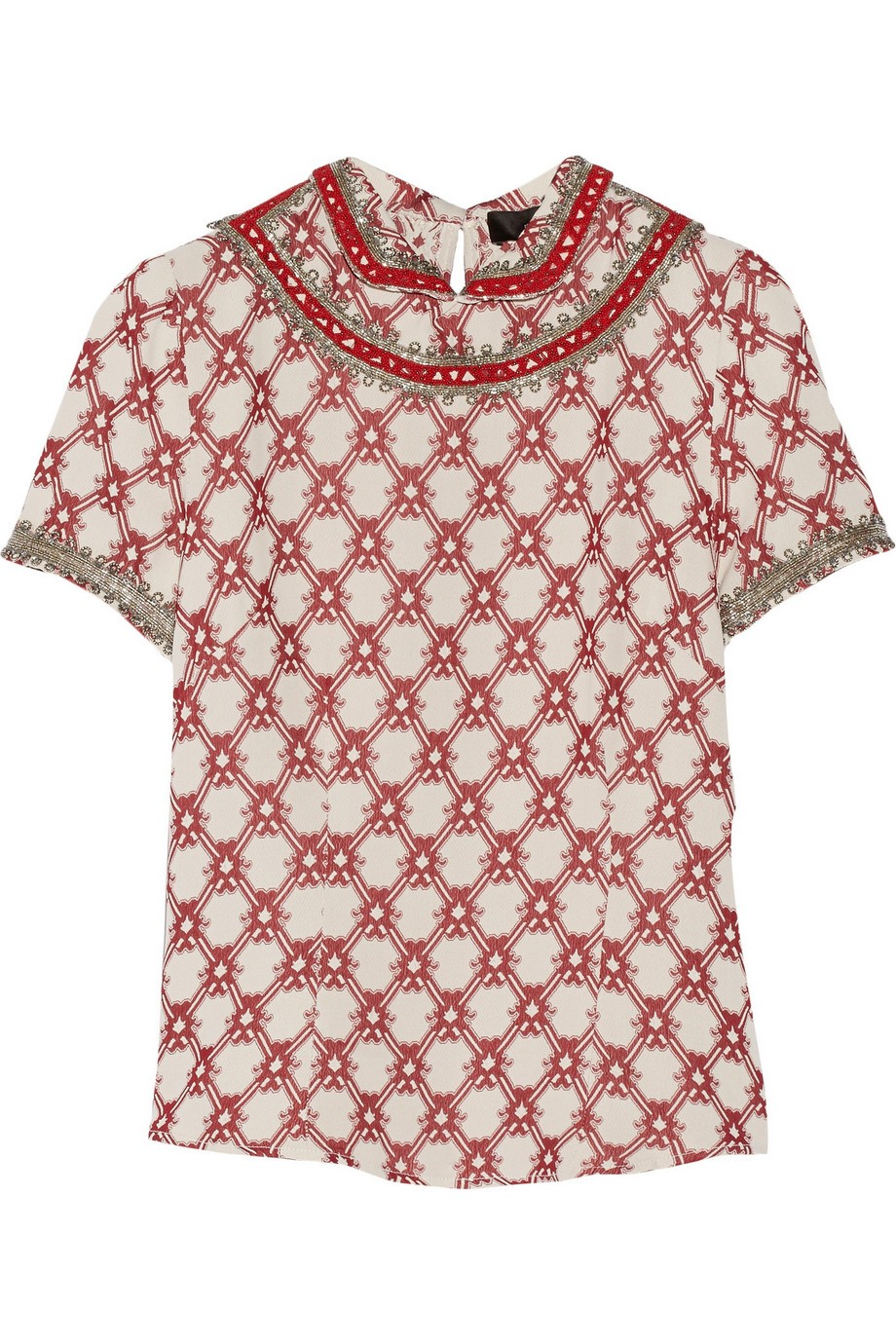 Mallory embellished printed crepe top