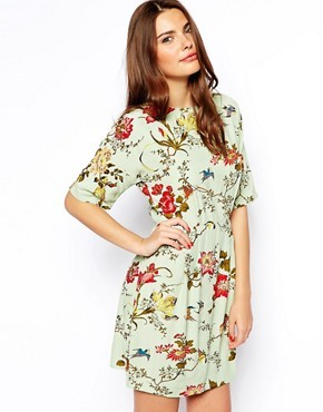 ASOS Mini Wiggle Dress In Botanical  Bird
