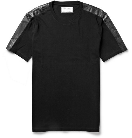 Coated-Shoulder Cotton-Jersey T-Shirt