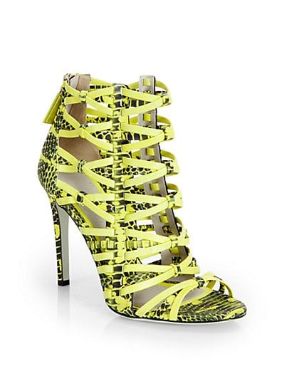Snake-Print Leather Strappy Sandals