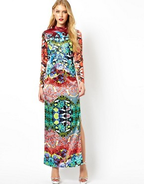 ASOS Premium Shamen Mix Print Maxi Dress