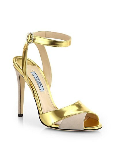 Metallic Leather & Suede Evening Sandals