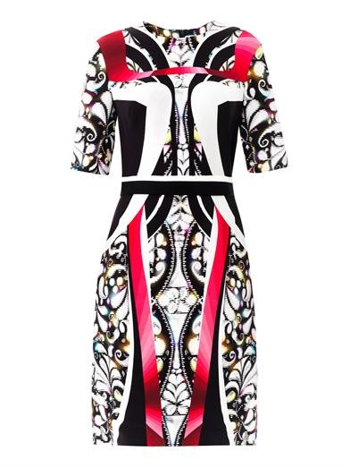 Eva panelled-print dress