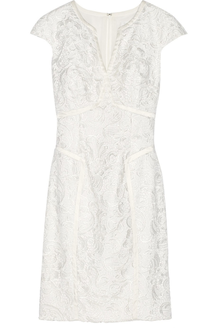 Satin-trimmed lace dress