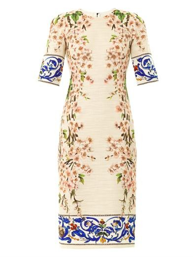 Almond blossom-print tweed dress