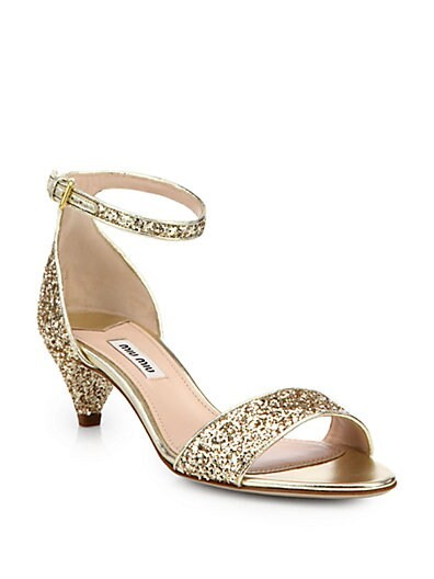 Jeweled Glitter Kitten-Heeled Sandals