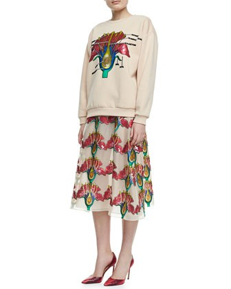Sequined Carnation Sweatshirt & Long Skirt