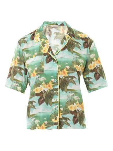 Hawaiian swan-print shirt