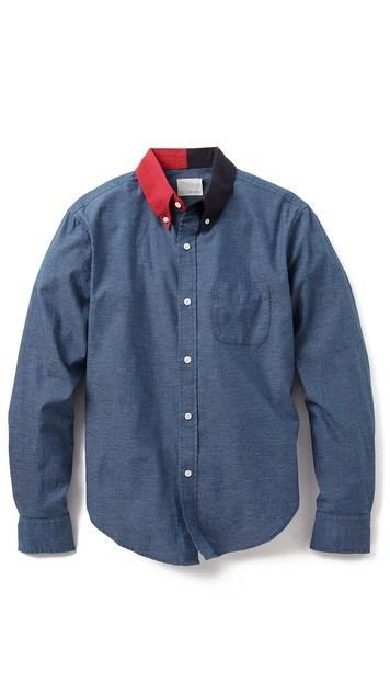 Split Collar Chambray Shirt