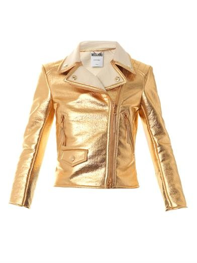 Lamé shearling-lined biker jacket