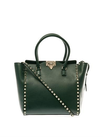Rockstud double-handle small tote