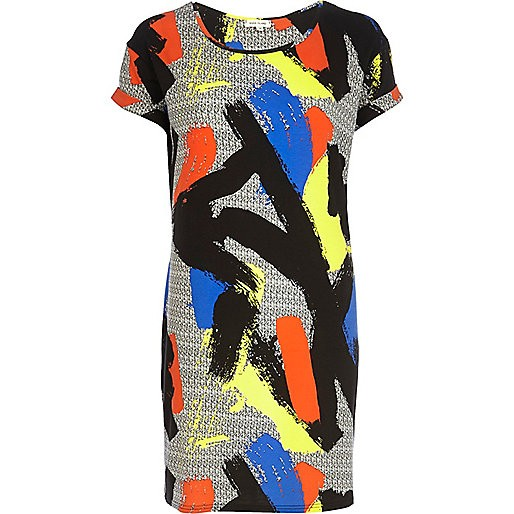 Black art print t-shirt dress