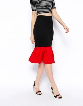 ASOS Pencil Skirt In Ponte With Peplum Hem