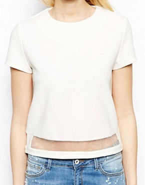 Fashion Union Crop T-Shirt With Mesh Insert