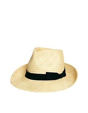Catarzi Exclusive to ASOS Straw Hat with Black Ribbon