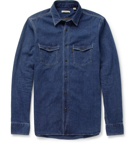 Regular-Fit Washed-Denim Shirt