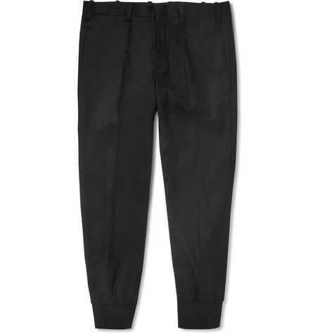 Cropped Cuffed Wool-Blend Trousers