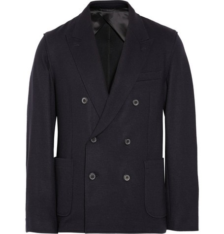 Unstructured Double-Breasted Wool-Blend Blazer