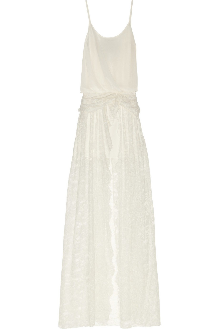 Draped voile and lace maxi dress