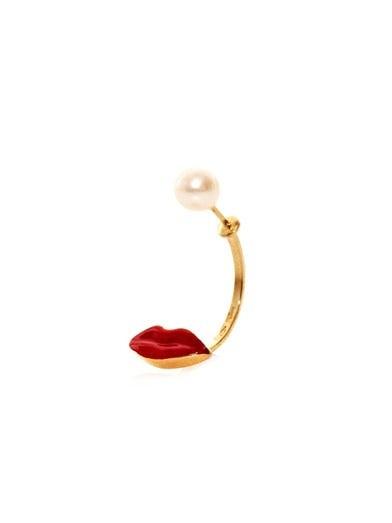 Gold, pearl & enamel lip single earring