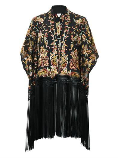 Tara floral-embroidered kimono