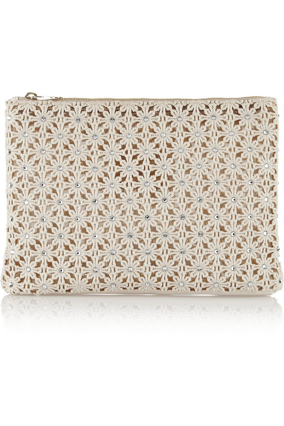 Crystal-embellished crocheted clutch