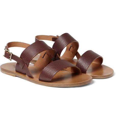 Textured-Leather Sandals