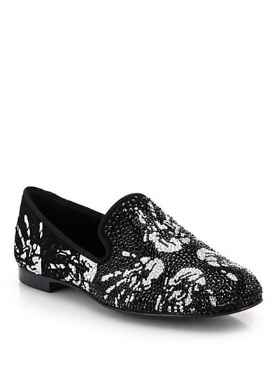 Embellished Hand-Print Loafers