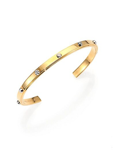 Astor Two-Tone Studded Cuff Bracelet/Goldtone