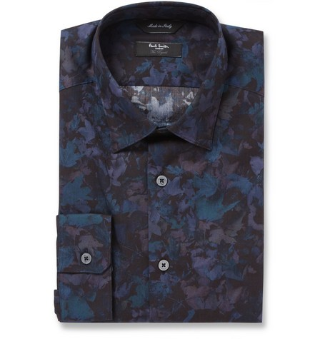Navy Leaf-Print Cotton Shirt