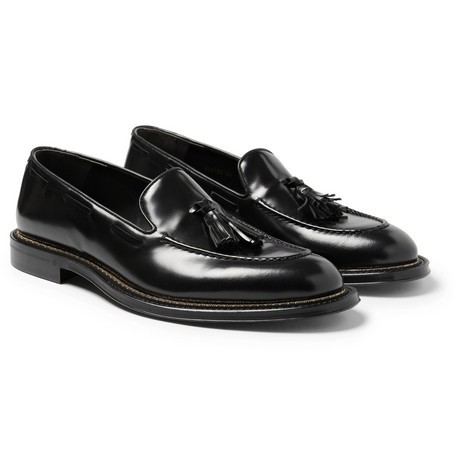 Chain-Trimmed Glossed-Leather Loafers