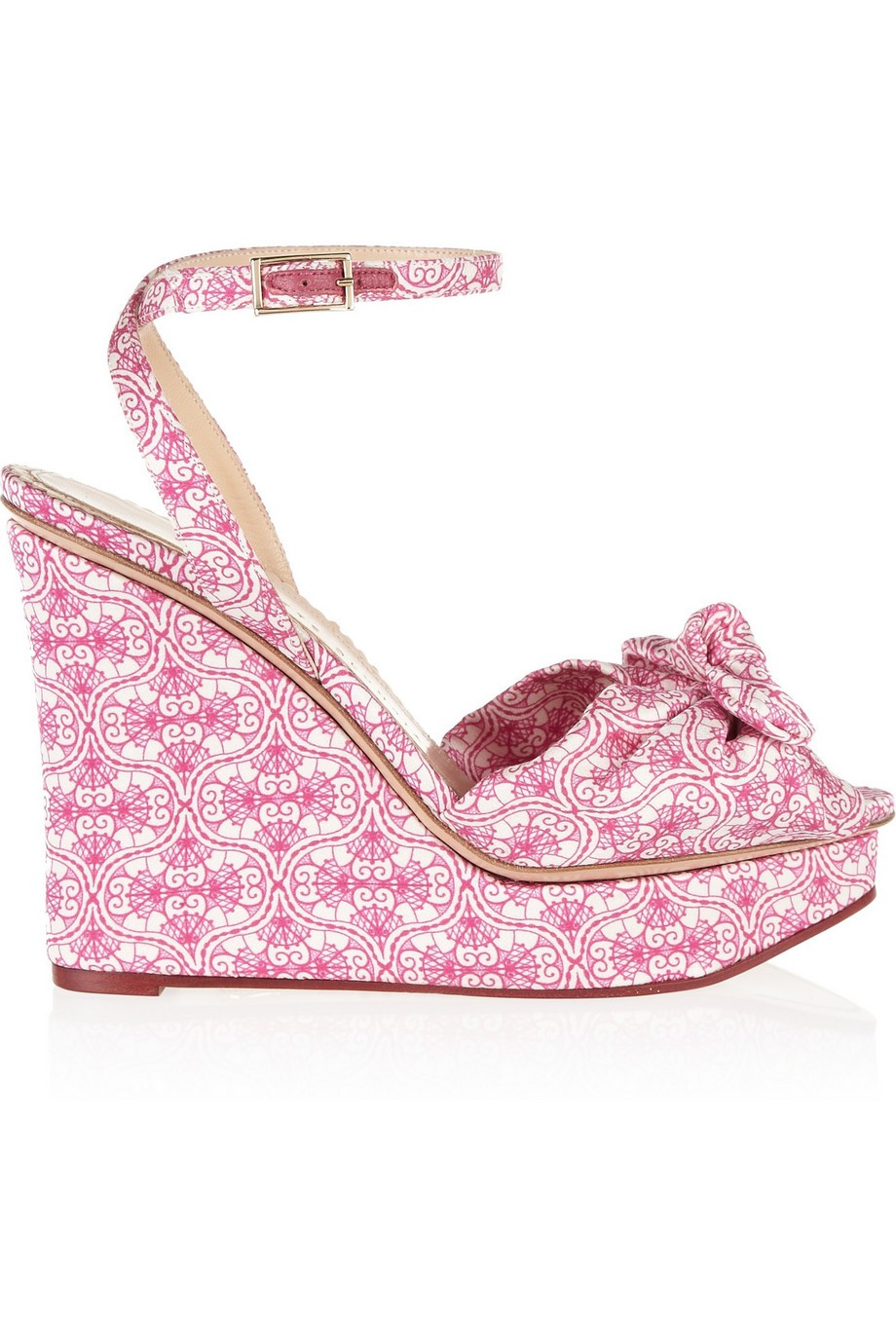 Miranda 110 printed satin wedge sandals