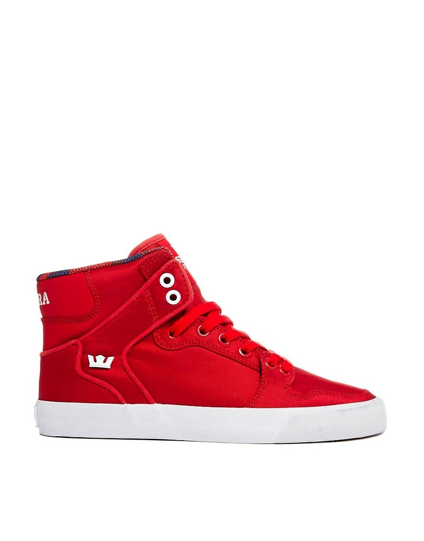 Supra Vaider Red High Top Sneakers