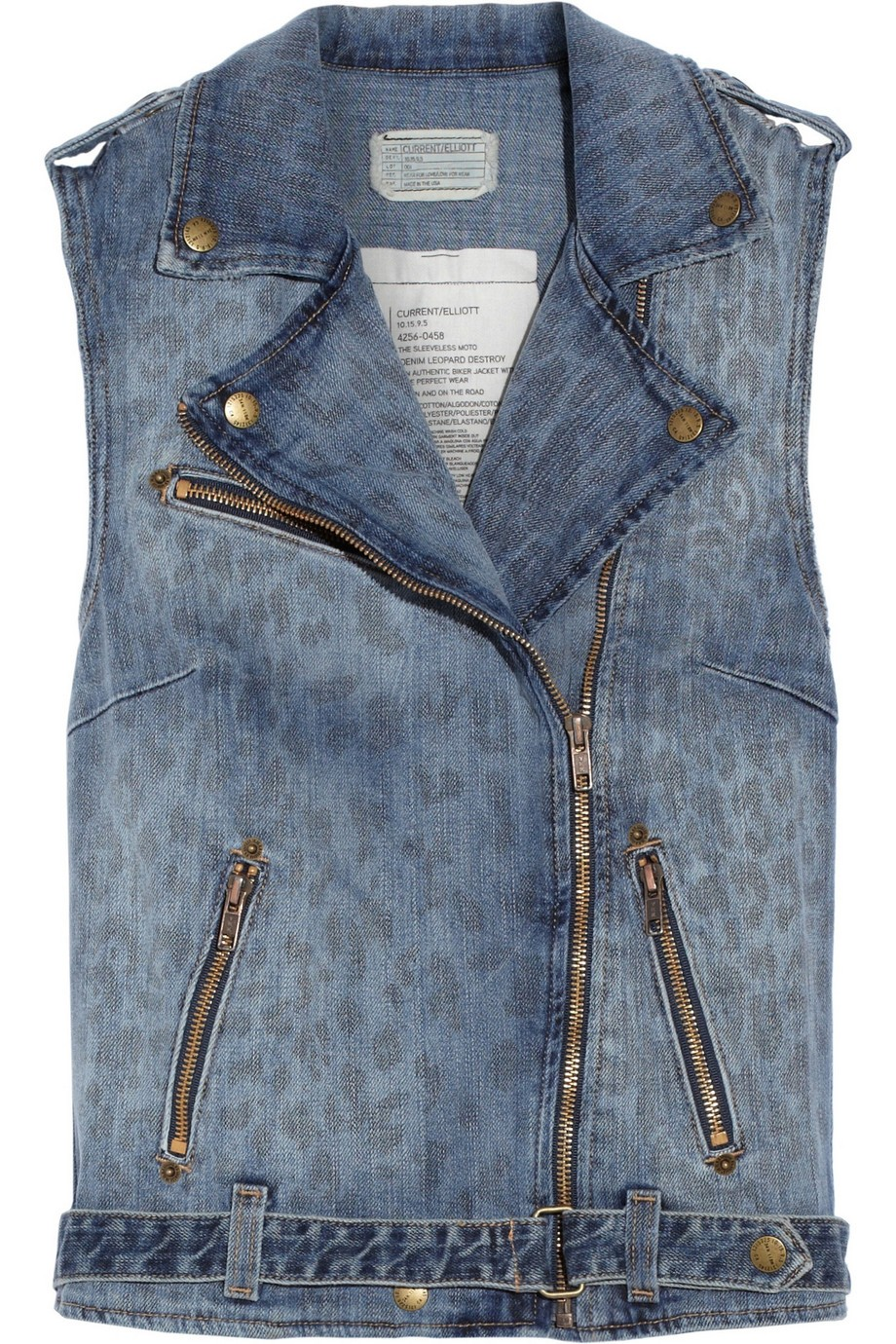 The Sleeveless Moto leopard-print denim vest