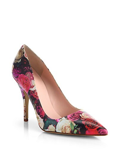 Licorice Rose Print Leather Pumps