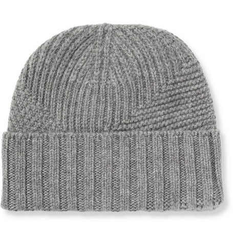Panelled-Knit Cashmere Beanie Hat