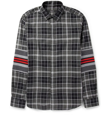 Contrast-Panelled Checked Cotton Shirt