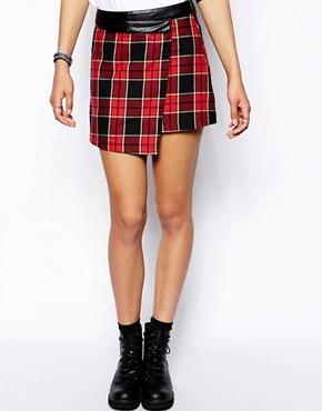 Neon Rose Plaid  Wrap Mini Skirt