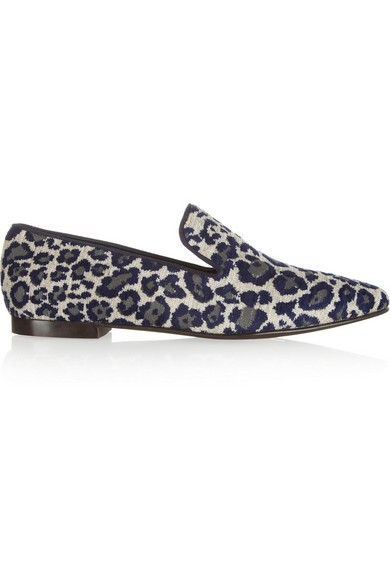 Leopard chenille-jacquard slippers