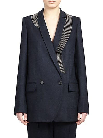 Zipper-Detail Wool Suiting Blazer